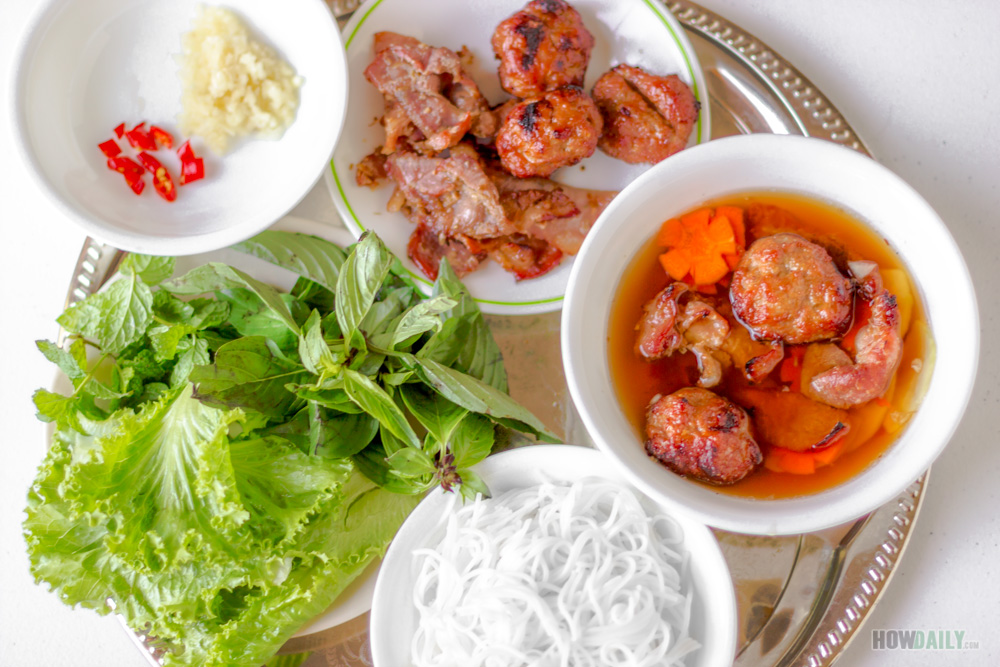 Vietnamese Hanoi Style Grilled Pork Vermicelli (Recipe for Bun Cha)