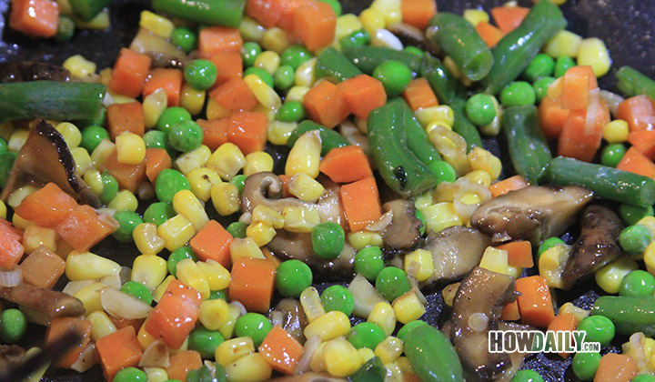 Add mushroom and veggies