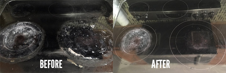 Before and after cleaning a glass stove with baking soda