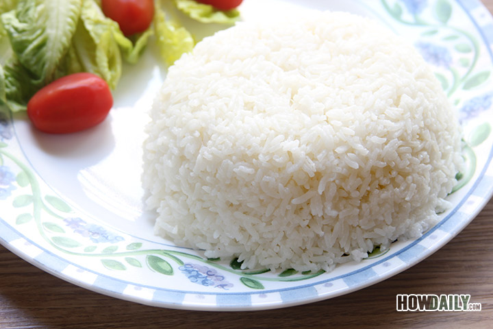 Cooked white rice on a dish