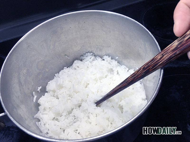 Step 8 - Stir your cooked rice