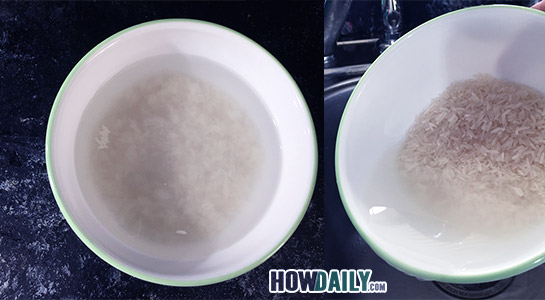 Rinse the rice with water.