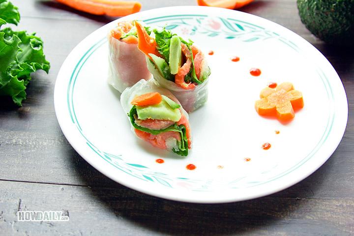 Salmon avocado spring rolls dish