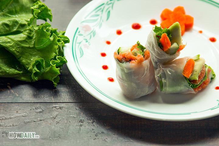 Salmon avocado spring rolls