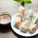 Vietnamese spring rolls and peanut dipping sauce