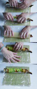 Rolling California dragon sushi