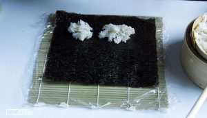 Sushi rice balls on Nori