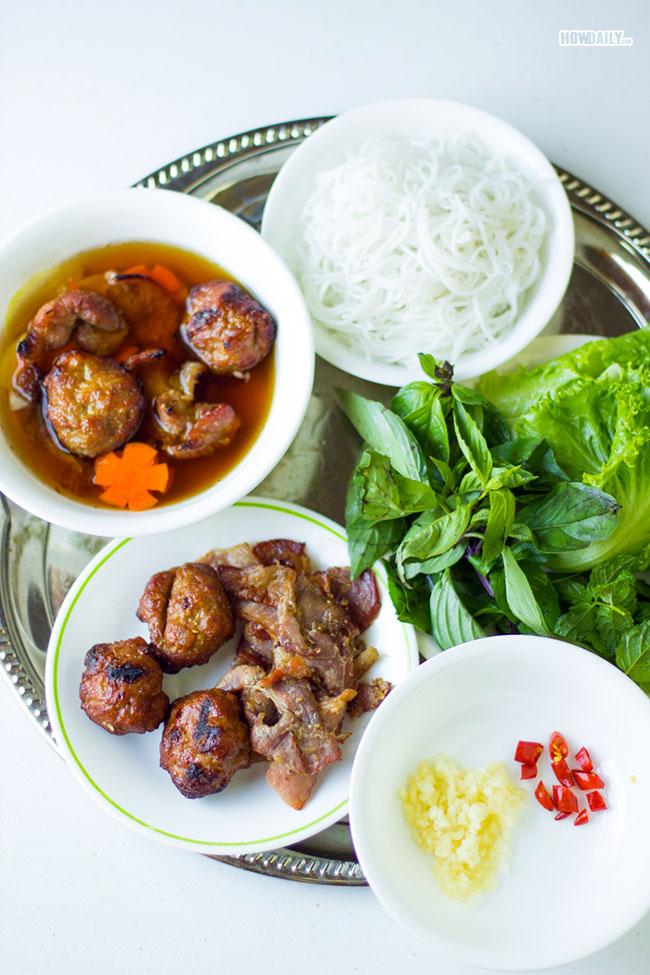 Enjoying Vietnamese bun cha