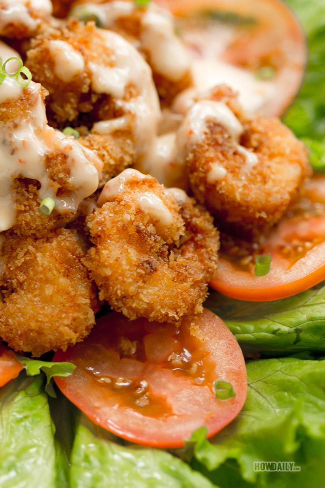 Delicious fried shrimp