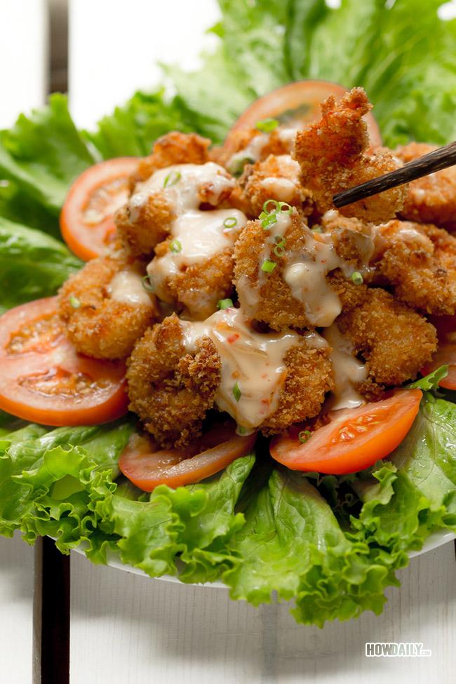 Enjoying bang bang shrimp
