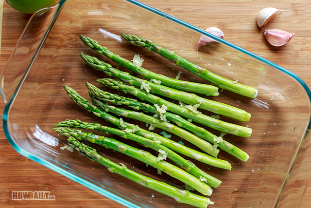Asparagus on cooking tray