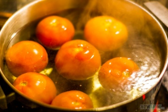 Tomatoes in boiling-water