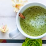 Recipe for matcha latte with cinnamon apple