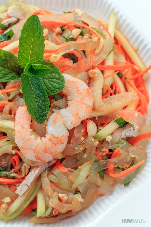 Shrimps and Jelly Fish on Aloe Vera Salad