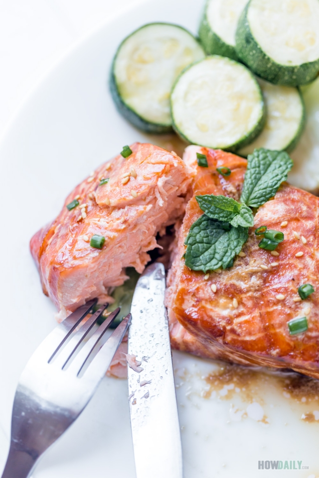 Enjoying perfect grilled salmon marinade