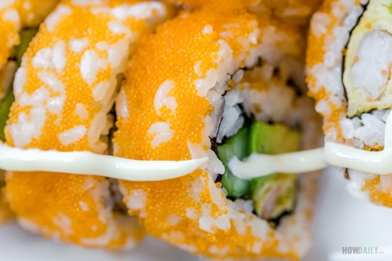 Masago on sushi roll