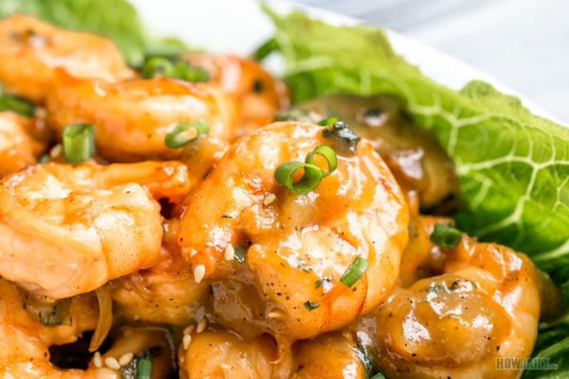Roasted sesame seed on shrimp