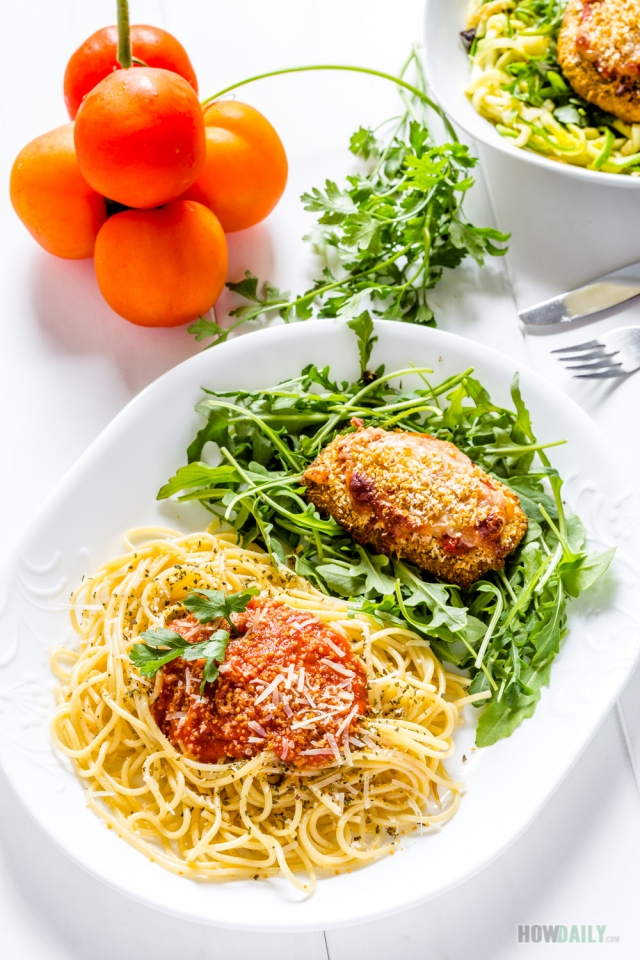 Spaghetti and chicken Parmesan