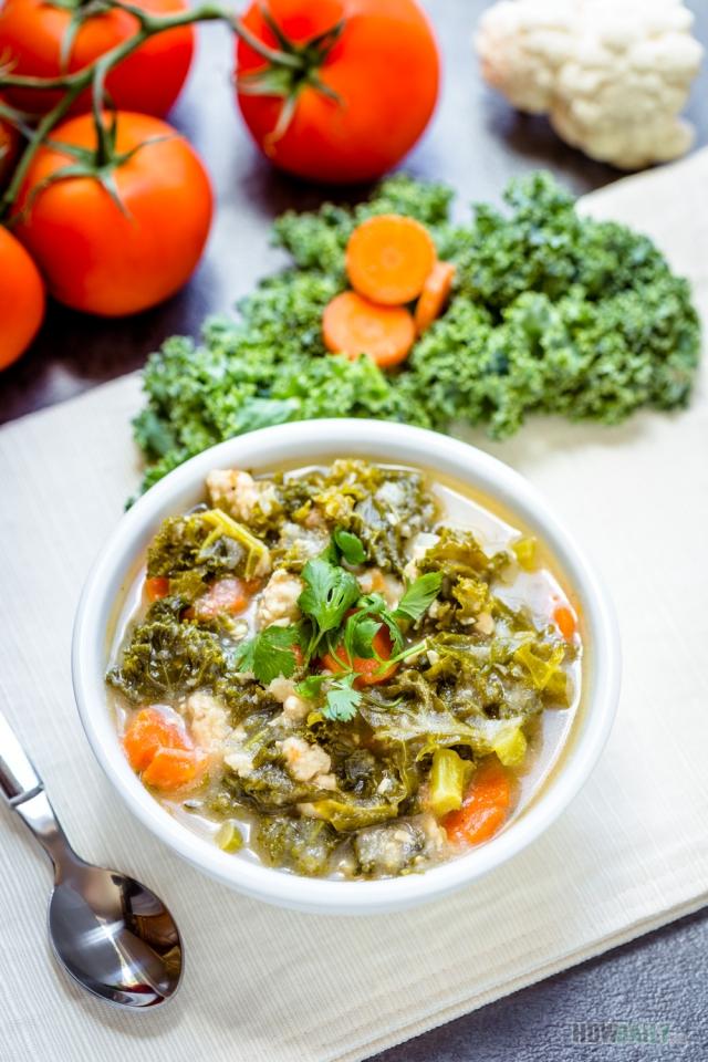 Paleo chicken kale soup