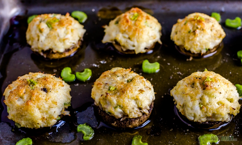 Baked crab stuffed mushrooms
