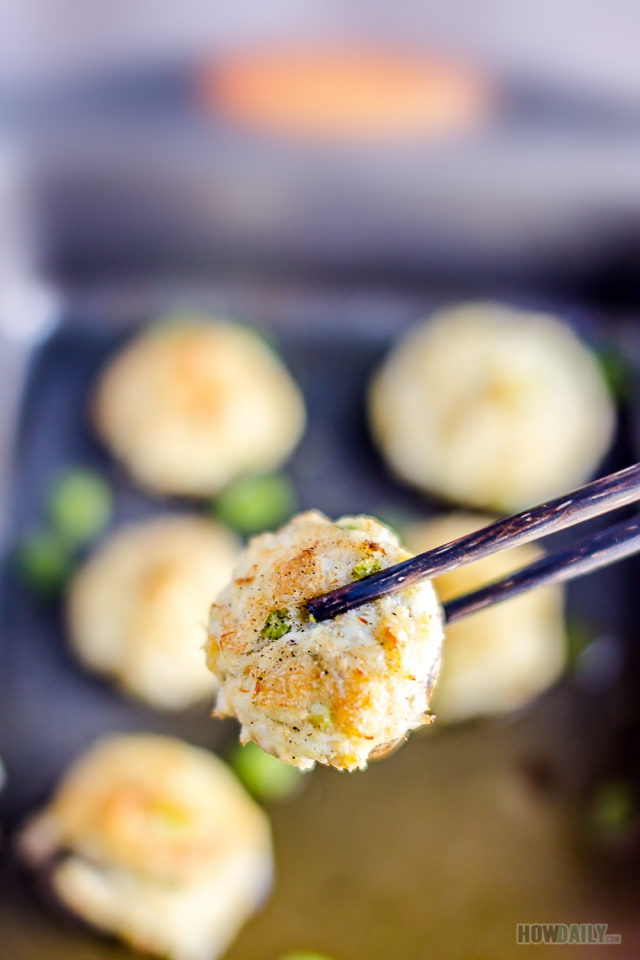 Crispy crab stuffed mushrooms