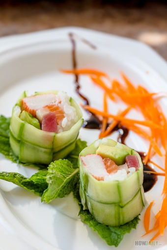 New York Sushi Roll in Basket Weaved Cucumber Wrapper