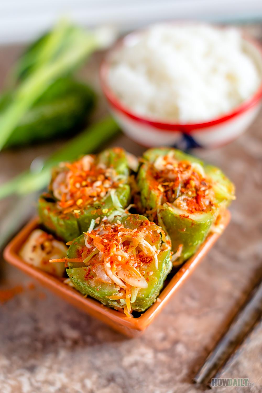 Stuffed Cucumber Kimchi (Oi-so-bae-gi)   Cucumber kimchi