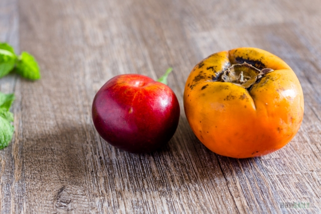 Persimmon and plum