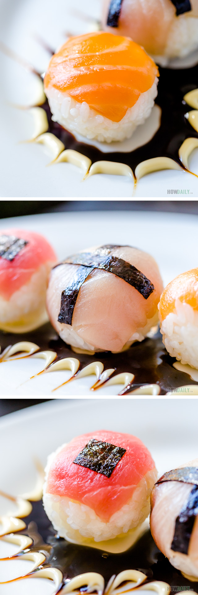 Round ball shaped Temari-sushi