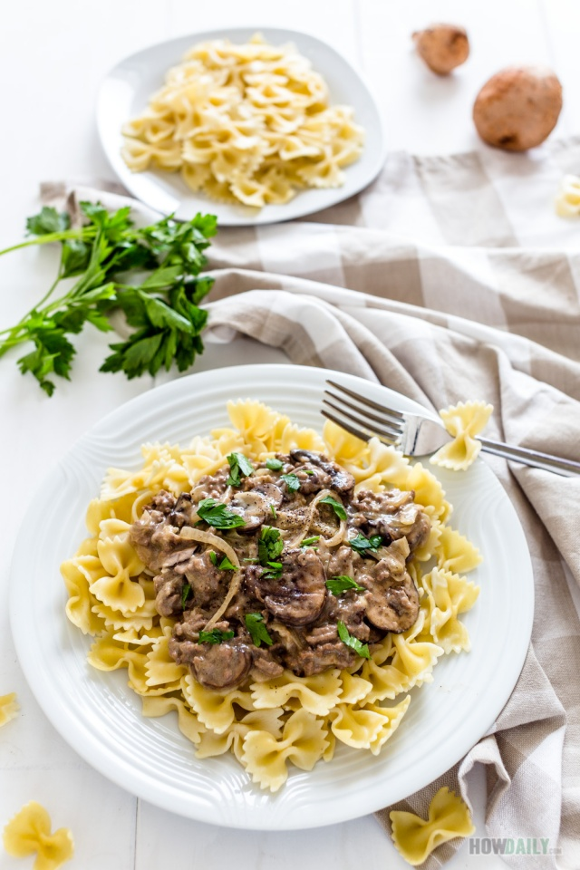 Easy Dairy Free Ground Beef Stroganoff Recipe With No Sour Cream