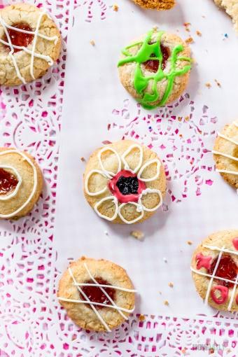 Holiday Fun: Strawberry Orange Thumbprint cookies (Egg Free Shortbread Method)