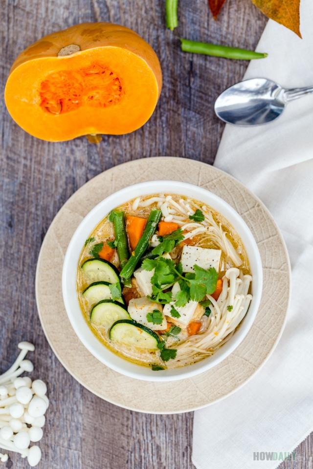 Tofu pumpkin soup with mushroom