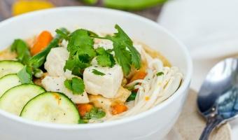 Vegan Tofu Pumpkin with Mushroom Coconut Soup