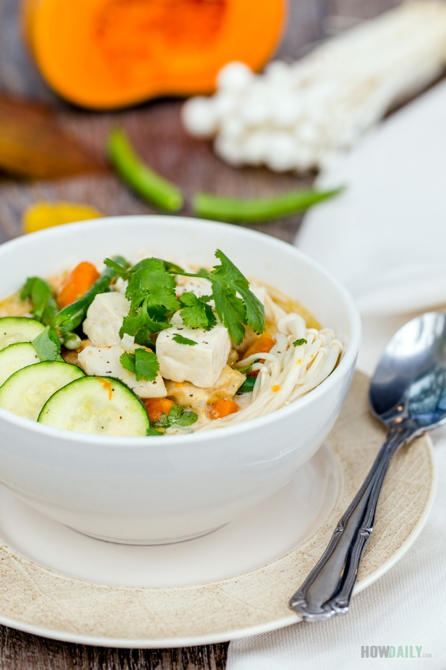 Tofu pumpkin soup
