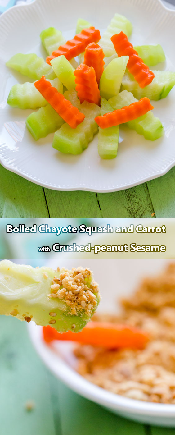 Simple and easy-to-do boiled chayote squash and carrot dipping with crushed peanut