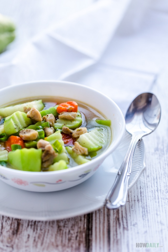 Chicken soup with chayote squash and carrot