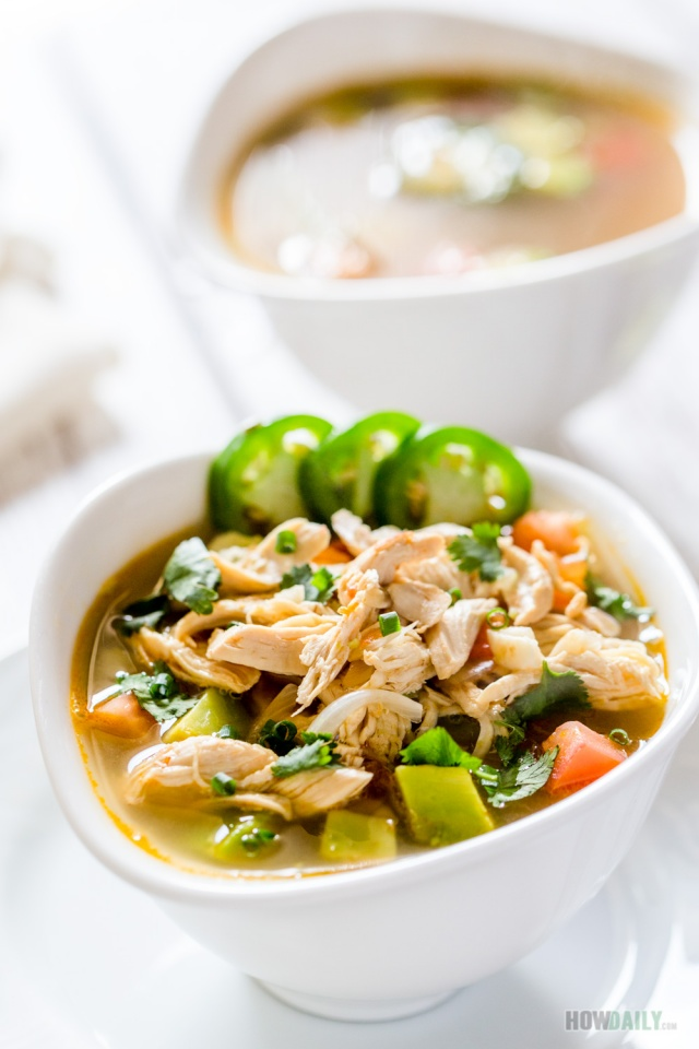 Chicken lime soup with avocado