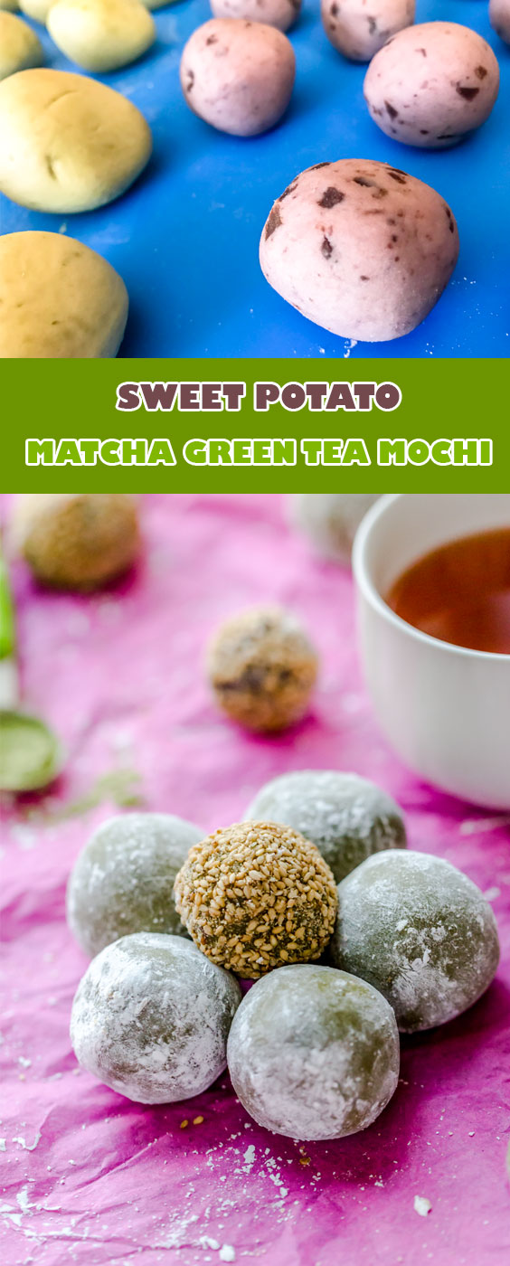 Cute Japanese dessert recipe - Matcha green tea mochi with sweet potatoes filling