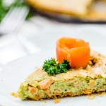 Baked smoked salmon cheesecake