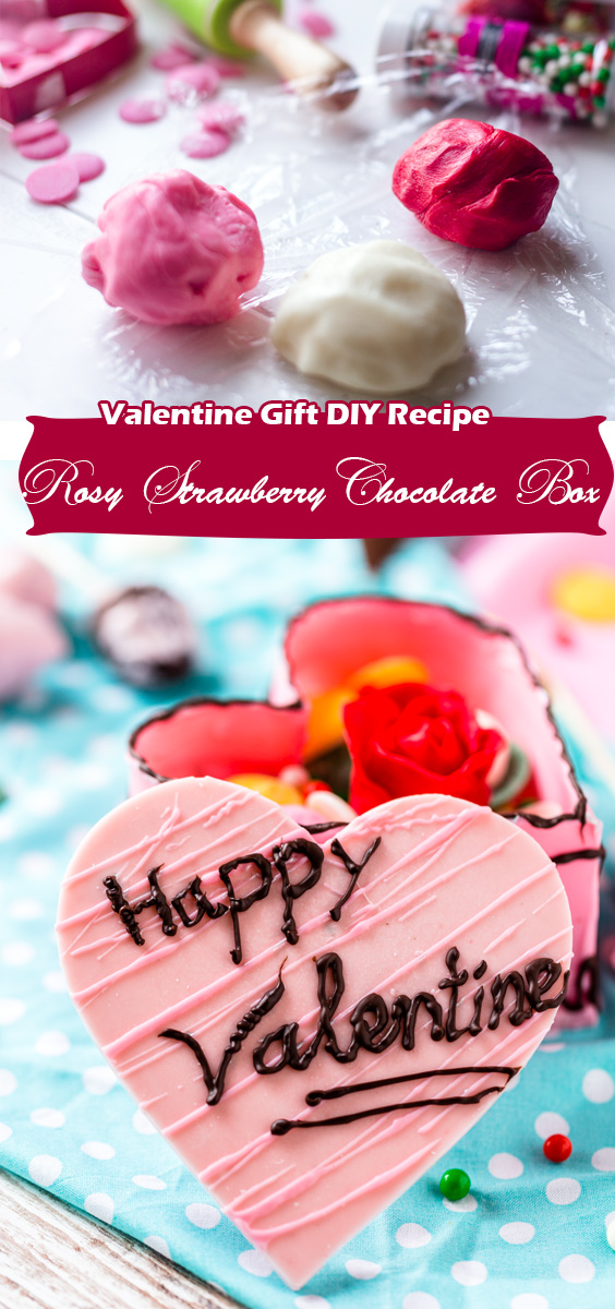 Valentine Gift DIY Recipe: Heart shaped chocolate box full of strawberry rose and candies