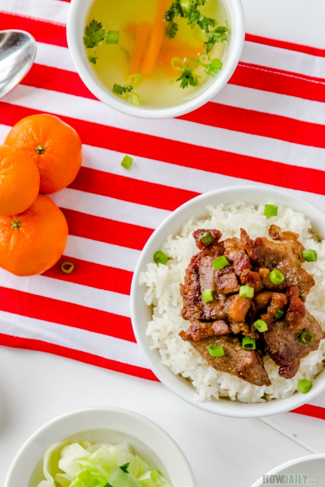 Pan fried-pork with rice and soup