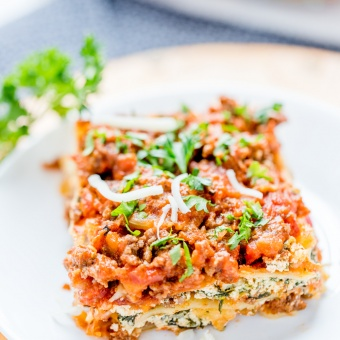 Twi-baked Spinach – Ground Beef Layered Lasagna