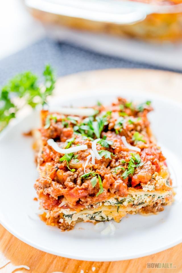 Spinach - Ground Beef Layered Lasagna