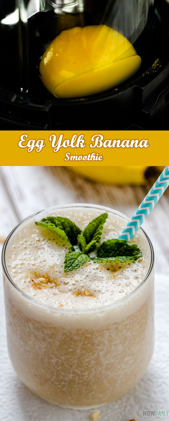 Super Protein Breakfast Recipe: Egg Yolk and Banana Smoothie Recipe by @HowDaily