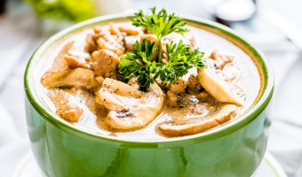 Healthy chicken mushroom soup