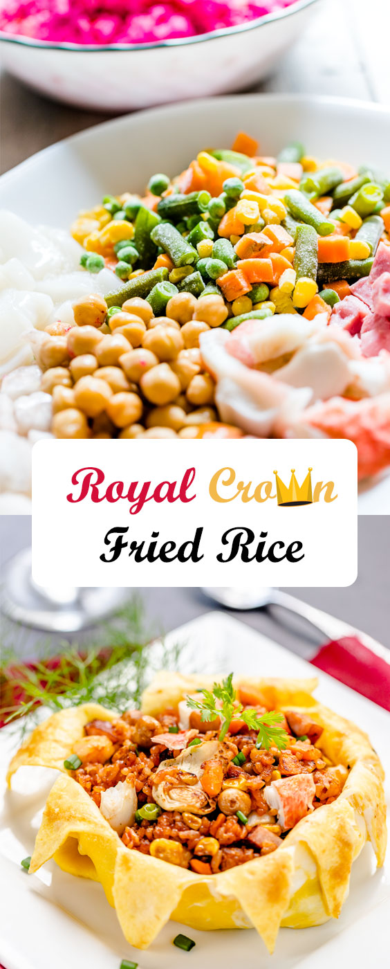 Tasty Royal Crown Fried Rice with Golden Omelette Stuffed Rice Recipe by @HowDaily