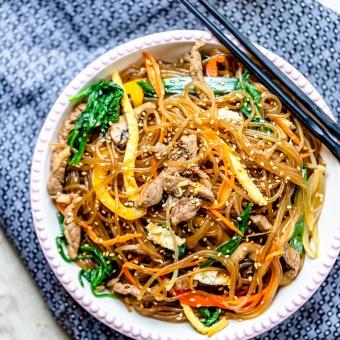 Japchae: Korean Mixed Glass Noodle (Gluten-free)