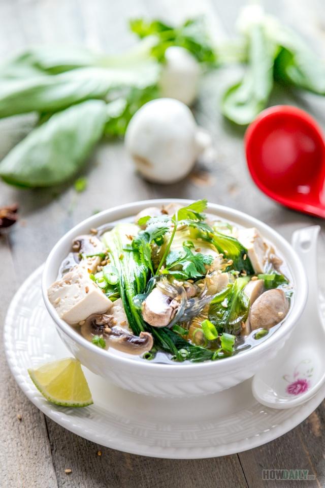 Vegan Baby Bok Choy Mushroom Soup