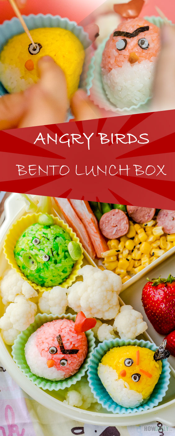 Angry birds onigiri bento lunch box recipe by How Daily
