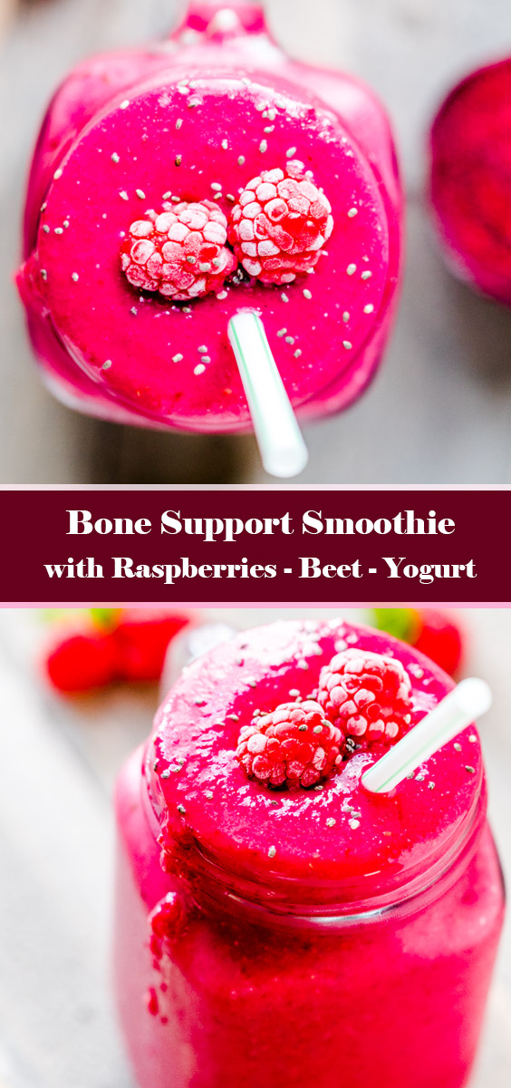 Bone Support Smoothie with Raspberries, Beet, Yogurt - Recipe by HowDaily